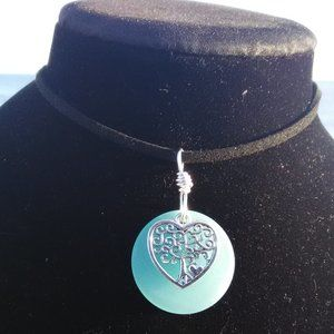 Lite Blue Sea Glass Heart Tree of Life Necklace